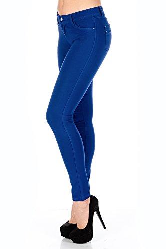 Alla moda pantaloni Jegging Leggings fianchi da donna Stretch Modello slimfit, molto comodo blu royal
