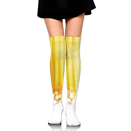 OQUYCZ Womans Gold and White Ombre Striped Design with Bubble Alike Circles Artwork Fashion High Boot Socks