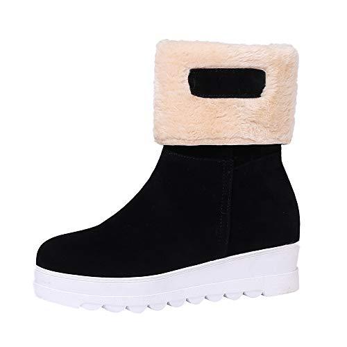 cinnamou Winter Damen Slip-On Plüsch Schnee Stiefel, Wildleder Runde Zehe Keile Schuhe halten warme Stiefel