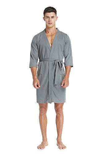 TIMSOPHIA für Herren Kimono Bademantel Man Nachtwäsche Nachthemd Hotel Spa Robe Leichter Morgenmantel, 3/4 Ärmel Knielänge (Gray, l) -