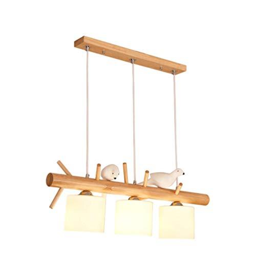 BEGRHT Modernen Pendelleuchte Holz Kronleuchter 3-flammig Restaurant Lampe Stoff Schatten Minimalistische Bar Dekoration Lampe Esstisch Kreative Vogel Licht Leuchte