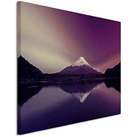 120 x 80 cm cuadro de foto lienzo de la imagen en colour malva de amanecer Monte Fuji de Japón