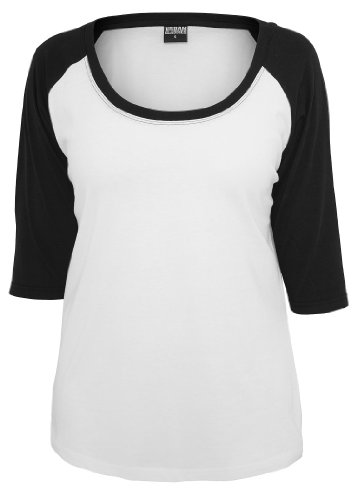 Urban Classics Ladies 3/4 Contrast Raglan Tee, white/black, L (Contrast Raglan Tee)