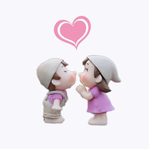 Lameida Micro Paysage De DÉCoration DÉCoration De Maison De FÉE Miniature Mignon Couple PoupÉE Ornement Dollhouse Figurine Diy Jardin ExtÉRieur 1 Paire Rose 2.2 * 4cm
