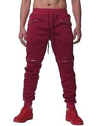 SOMTHRON Hombre Cinturón de cintura elástico Pantalones de chándal de  algodón largo Jogging Pantalones de carga 69b088255c0