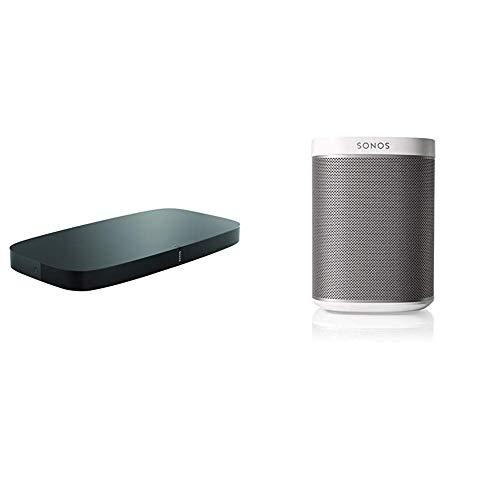 Sonos playbase soundbase wireless per l'home theater e lo streaming musicale, nero + sonos play:1 lettore all-in-one, wireless, controllabile da smartphone, tablet e pc, bianco