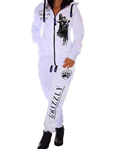 Aooword Women's Letters Full Zip Sweatshirt Hoodie Long Pants Sports Suit White S Fleece Full Zip Suit