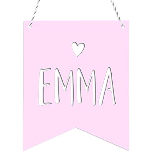 Kleinlaut Deko-Wimpel mit Wunschname fürs Kinderzimmer - Wähle ein Motiv, Farbe & Wunschtext -'Herz' - Pastell Rosa