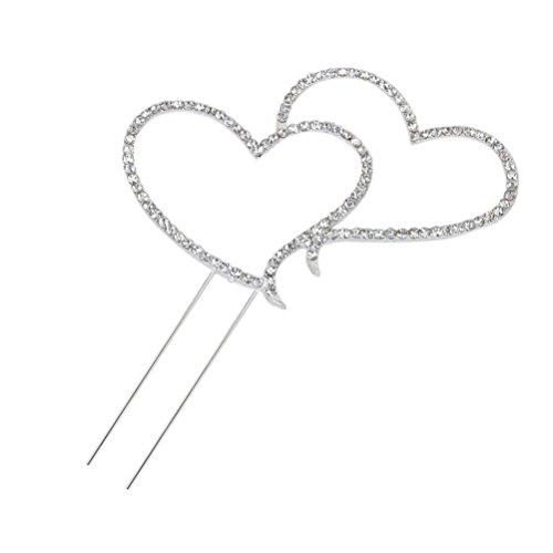 Preisvergleich Produktbild Foxnovo Zarte funkelnde Crystal Strasssteine Double Love Heart Shape Hochzeitstorte Topper Dekoration - Größe L (Silber)