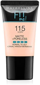 Maybelline New York Fit Me Matte+Poreless Liquid Foundation Tube, 115 Ivory, 18ml
