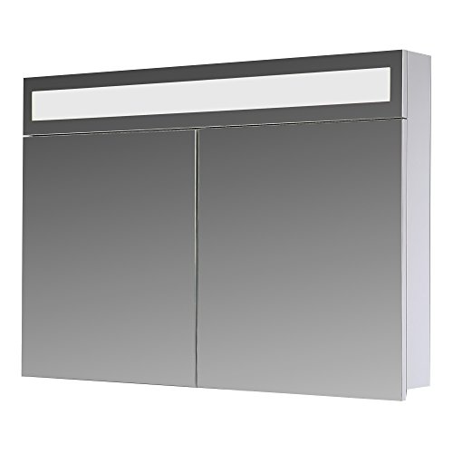 eurosan Armario con espejo, superplana, iluminación de LED frontal integrada, color blanco, Paris, madera, madera, blanco, 80 x 62 x 13 cm