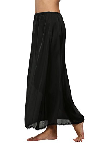 ADOME Damen Satin Lingerie Dessous Lang Rock mit Spitzensaum Unterrock Einfarbig Schwarz