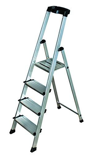 Alu-Stufenstehleiter 4 Sprossen mit Sicherheitsbrücke und Werkzeugablage