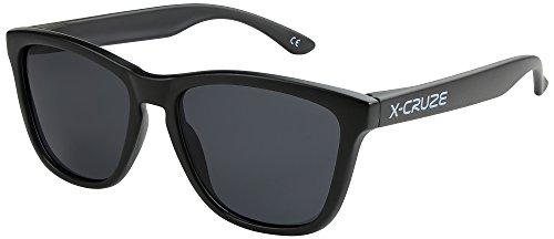 X-CRUZE® 9-003 Nerd Sonnenbrillen polarisiert Style Stil Retro Vintage Retro Unisex Herren Damen Männer Frauen Brille Nerdbrille - schwarz matt LW / schwarz