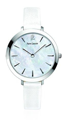 Pierre Lannier - 011H690 - Week-End Basic - Montre Femme - Quartz Analogique - Cadran Nacre - Bracelet Cuir Blanc