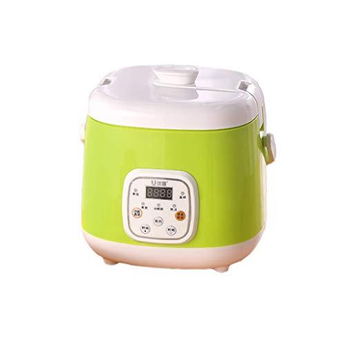 Mysida Intelligenter 2-Liter-Reiskocher, Dampfgarer, Langsamkocher, Mini-Multifunktionsgerät mit kleinem Termin 1 bis 4 Personen (Farbe : Green)