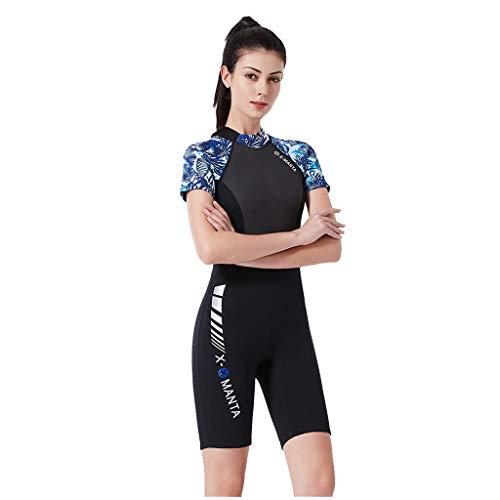 iYmitz Sommer Damen Surfanzug, Schnelltrocknend Einteiliger Bademode, Frauen Slim Body 1 Piece Wassersport Anzug Shorts Badeanzug(Blau,L)