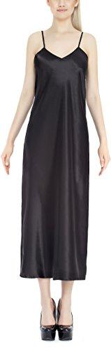 Lady-Mode Negligee aus Satin Anny (XS - 2XL) Schwarz
