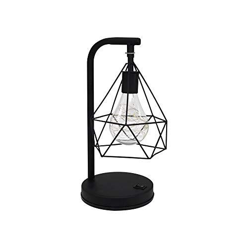 ZZM Lámpara de Mesa de Hierro diamantado, lámpara de Jaula de pájaros de Metal geométrica E27 LED luz de Noche Lámpara de Mesa de Noche nórdica Lámpara Decorativa Iluminación