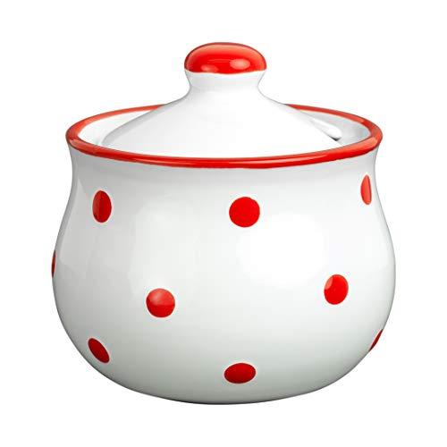 City to Cottage   Sucrier Pot de sucre   blanc à pois rouges en céramique avec couvercle fait et peint à la main