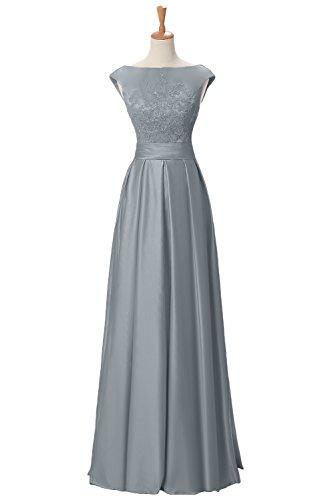 TOSKANA BRAUT Elegant Damen Satin Spitze Abendkleider Lang Prom Fest Party  Ballkleider Silber