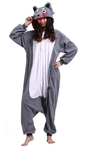 Für Wolf Kostüm Sie Erwachsene - Pyjama Tier Onesies Wolf Erwachsene Kigurumi Unisex Cospaly Nachtwäsche für Hohe 140-187CM