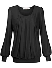 BAISHENGGT Damen Shirt Rundhals Falten Shirt Stretch Tunika