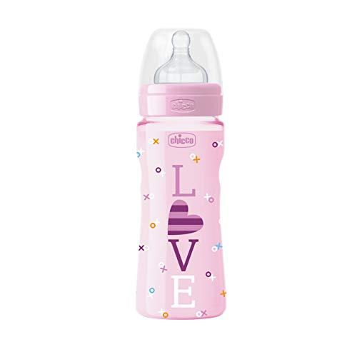 Chicco Wellbeing - Biberón con tetina de silicona y flujo rápido para bebé de 4 meses en adelante, 330 ml, color rosa, 1 unidad, modelo surtido