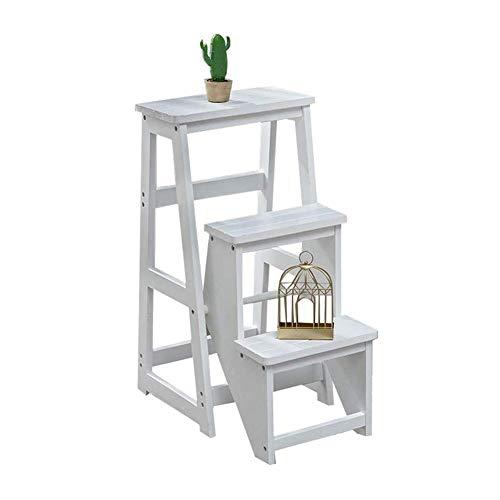 JTDBO Tragbarer Tritthocker, klappbare 3-Stufen-Leiter mit rutschfesten Füßen, Holzfußpedal für Zuhause weiß -