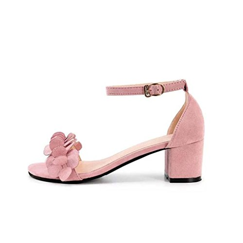 squarex Elegante Block High Heel Damen Sandalen Blumen schmücken Schnalle High Heels Schuhe Foot Length:22.5-23cm rose (Dollar Schnalle)