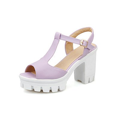 LvYuan Damen-Sandalen-Büro Kleid Lässig-PU-Blockabsatz-Club-Schuhe-Blau Rosa Lila Weiß Purple