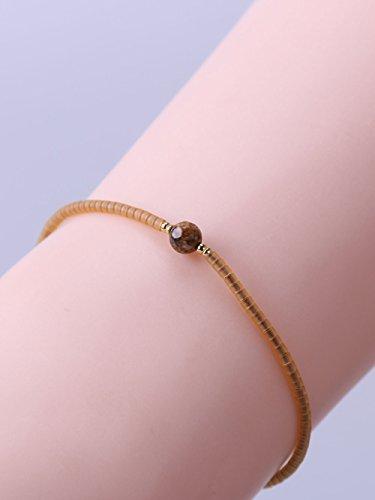 KELITCH Armband Orange Gold Rocailles Perlen Kastanie Rot Zart Schnur Freundschaftsarmbänder mit Picture-jasper