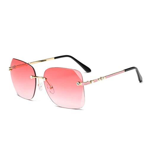 Polarisierte Sonnenbrille mit UV-Schutz Persönlichkeit Frameless Lady Sonnenbrille Square Oversized Clear Sonnenbrille mit Kristall für Frauen UV-Schutz für das Fahren von Reisen. Superleichtes Rahmen