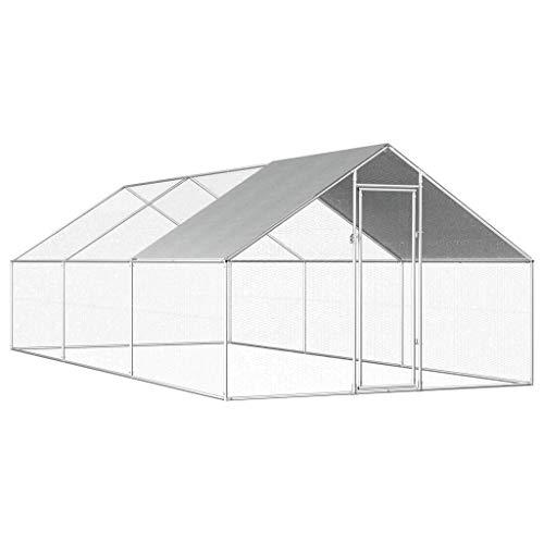 Mewmewcat gabbia per polli da esterno in acciaio zincato 2,75x6x2m