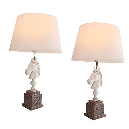 Lámpara de mesilla de Noche, Juego de 2 lámparas de Mesa Modernas ...
