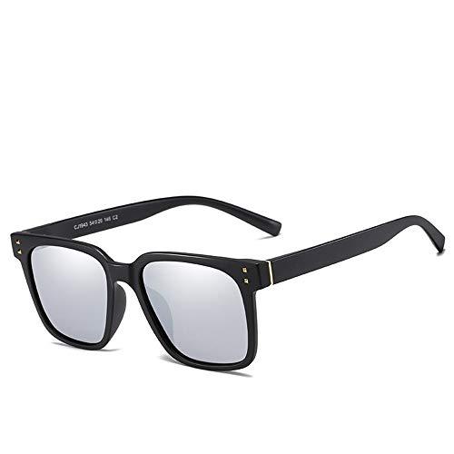 Easy Go Shopping Universal-Sonnencreme UV400 Polarisationsleuchte Sonnenbrille TAC Leisure UV-Vollrahmen Sonnenbrillen und Flacher Spiegel (Color : Sand Black+White)