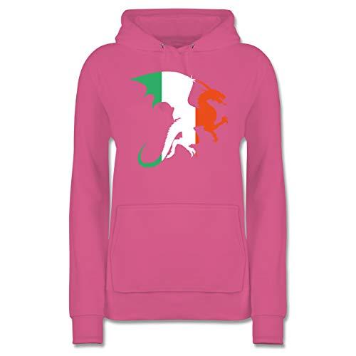 Elf Irland Kostüm - St. Patricks Day - Drache Irland - M - Rosa - JH001F - Damen Hoodie