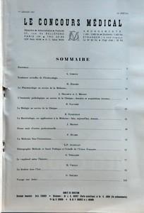 CONCOURS MEDICAL (LE) du 01-01-1957 SOMMAIRE - EDITORIAL PAR A GIROUD - TENDANCES ACTUELLES DE L'EMBRYOLOGIE PAR R HAZARD - LA PHARMACOLOGIE AU SERVICE DE LA MEDECINE PAR J DELARUE - L'ANATOMIE PATHOLOGIQUE AU SERVICE DE LA CLINIQUE DONNEES ET ACQUISITIONS RECENTES PAR R FAUVERT - LA BIOLOGIE AU SERVICE DE LA CLINIQUE PAR R FASQUELLE - LA BACTERIOLOGIE SES APPLICATIONS A LA MEDECINE HIER AUJOURD'HUI DEMAIN PAR J MIGNON - DOUZE MOIS D'ACTION PROFESSIONNELLE PAR P HUARD - LA MEDECINE SINO-VIET...