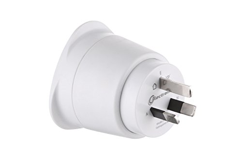 Electraline 70050 Adaptateur de voyage France/Europe vers australie/chine 2 Broches Europe vers 3 Broches australie, White