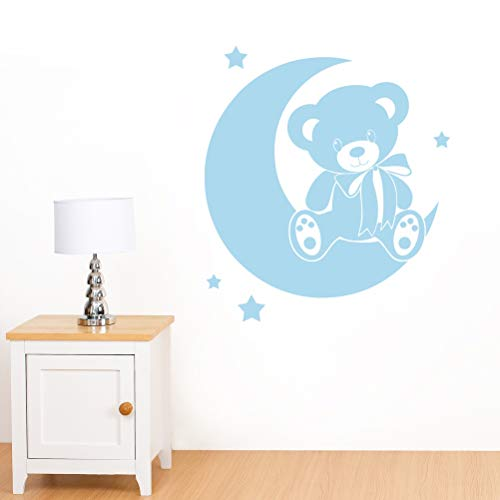 Ours sur la lune avec étoiles sticker mural pour enfant – Art Stickers en vinyle, facile à appliquer, sans applicateur, facile – enlever (Veuillez Choisir votre taille et couleur grâce à la sélection Boîtes) – par Rubybloom Designs, Bleu pastel, Small - 53cm x 58cm
