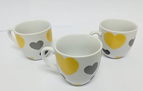 takestop Lot de 6 Tasses 100 ml fantaisie coeurs Tasse de café Caffe 'Avec Poignée Gobelet Espressino Bar jaune