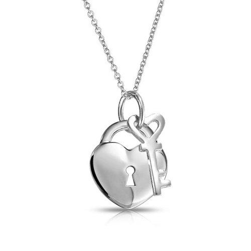 Bling Jewelry Herz Schloss Schlüssel Anhänger Sterling Silber Halskette 16 Zoll