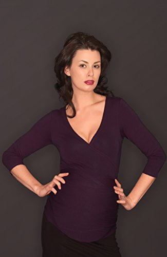 Picchu Maternity Dark Olive Wrap Top Deep Purple