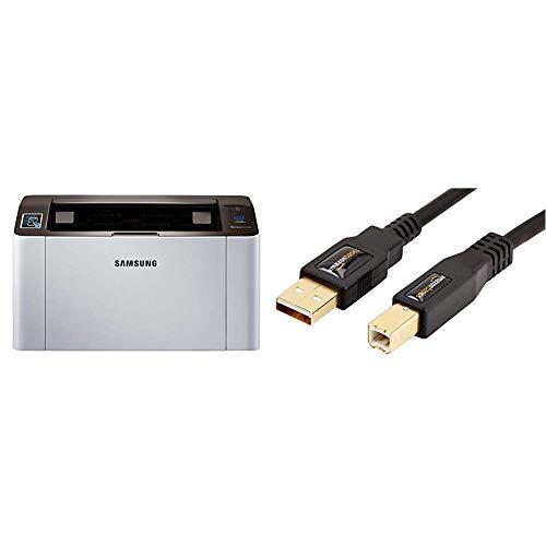 Samsung Xpress M2026w Laserdrucker (mit WLAN und NFC) & AmazonBasics USB 2.0-Druckerkabel A-Stecker auf B-Stecker, 3 m
