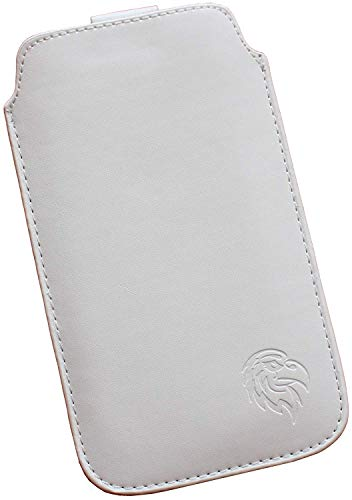 Dealbude24 Schutz Tasche für Samsung Galaxy A50, Pull tab Hülle Handy herausziehbar, dünnes Etui genäht mit Rausziehband, innen weiches Microfaser mit exklusivem Adler Motiv XXL Weiss