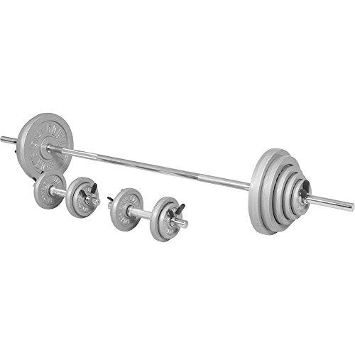 GORILLA SPORTS® Langhantel-Set 100 kg mit Langhantelstange, Kurzhanteln, Gewichten und Federverschlüssen (Kurzhantel-set Langhantel-und)