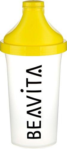 BEAVITA Slim Shaker   für Eiweiß & Protein-Shakes oder isotonische Mixgetränke   Trinkflasche mit Klappdeckelverschluss   Spülmaschinenfest und perfekt für die Mitnahme ins Fitnessstudio oder Gym