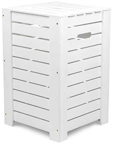 LAUBLUST - Wäschekorb zur Aufbewahrung in Größe L - Kiefer Weiß ca. 55 x 35 x 35 cm - Wäschesammler mit Griffen - Deckel und Herausnehmbarer Boden