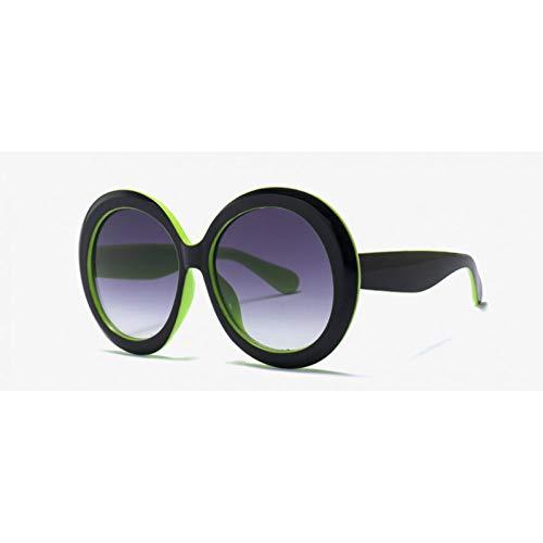 MINGMOU Mode Übergroße Sonnenbrille Frauen Runde Form Kreis Grüne Sonnenbrille Für Frauen Große Uv400 Schwarz