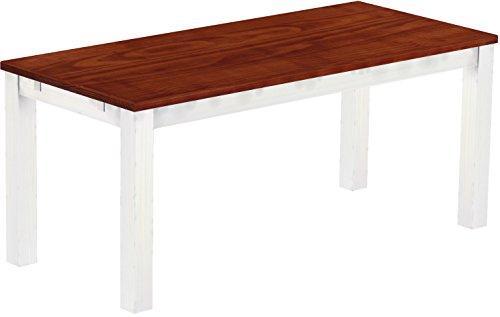 Brasilmoebel Esstisch Rio Classico 180 x 80 cm - Pinie Massivholz Mahagoni - Weiss - in 27 Größen und 50 Farben - über 1000 Varianten - Echtholz...
